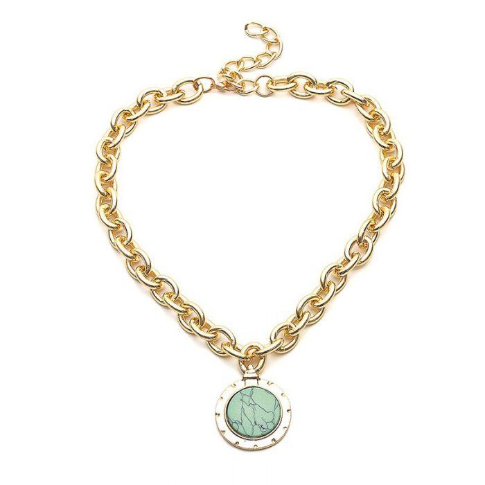 Green Stone Pendant Necklace