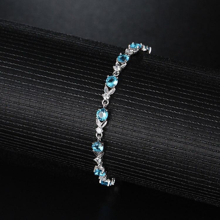 Women's Thin Blue Crystal Bracelet