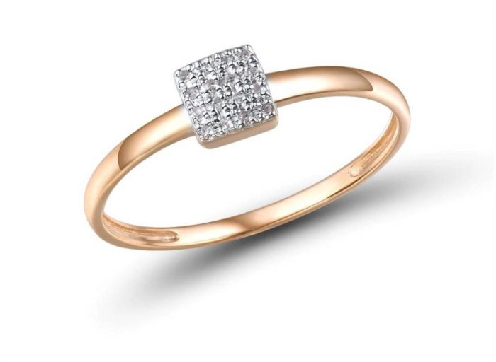 14K Gold Crystal Square Ring