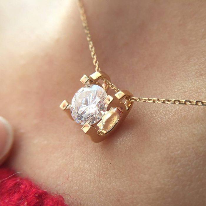 14K Gold Moissanite Necklace