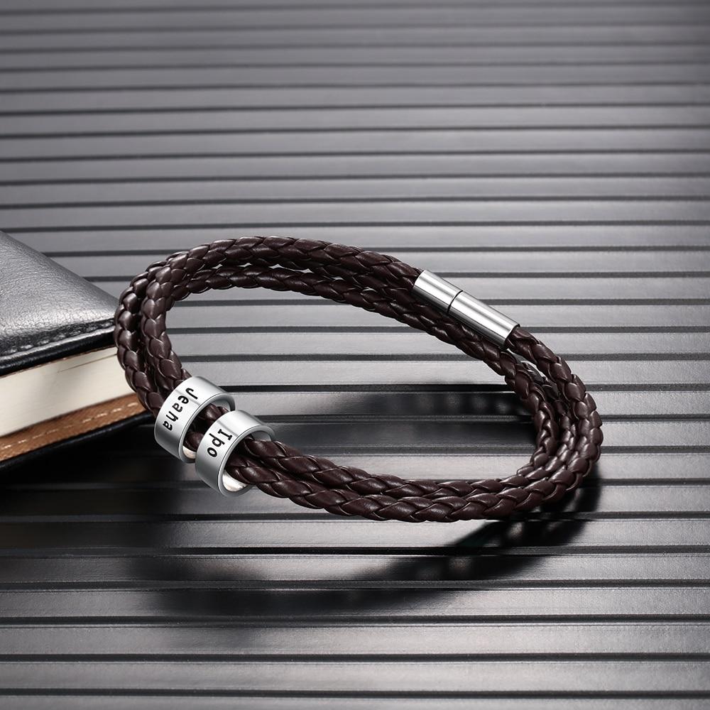 Men's PU Leather Personalized Bracelet